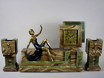 art deco mantel clock set