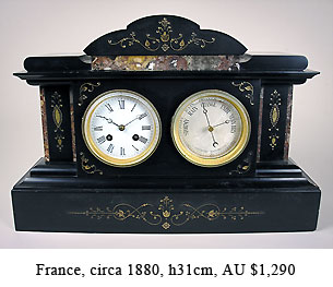 french mantel clock with barometer
