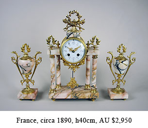clousienne mantel clock set