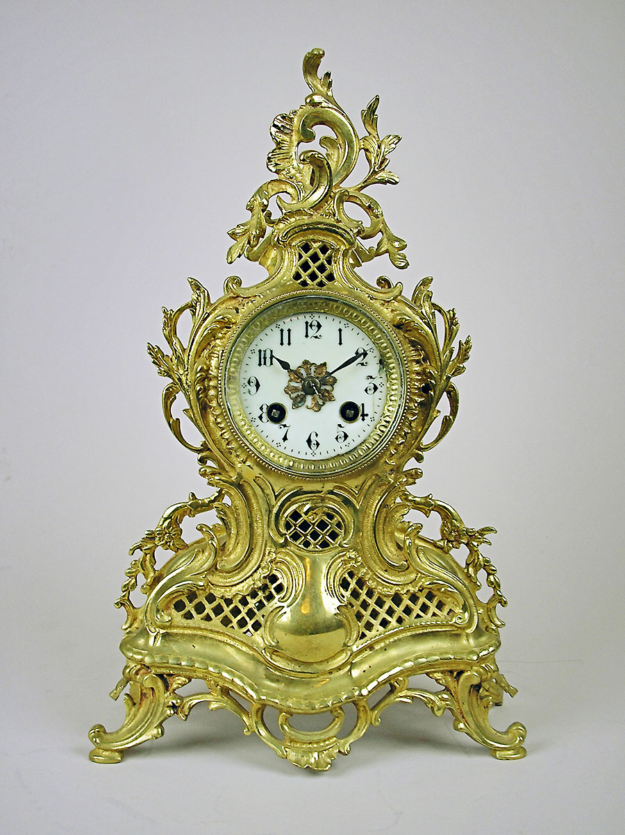 Antique Brass Rococo Mantel Clock For Sale Perth Australia